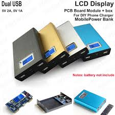 diy phone charger 5v 2a dual usb lcd display lithium battery charger module box for