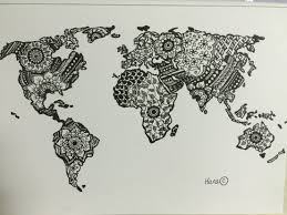 world map mandala colouring page original drawing by me