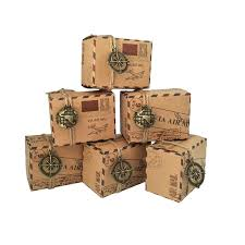 wholesale vintage favors kraft paper box travel theme