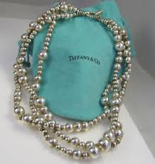 silver beads necklace tiffany images Tiffany co gorgeous sterling silver 3 strand torsade 110 5 gram jpg