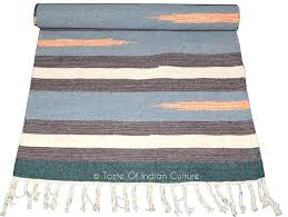 handwoven 2 u0027 x 6 u0027 yoga mat area rug cotton striped dhurrie carpet