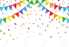 party confetti party flags with confetti royalty free cliparts vectors and