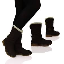 womens flat ankle boots fur lined warm winter