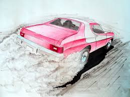 The Car In Starsky And Hutch Starsky And Hutch 1976 Ford Gran Torino Drawing By
