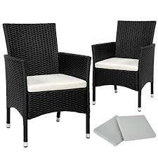 Upholstery Outdoor Furniture by Tectake 2 X Poly Rattan Garden Chairs Set Cushions 2 Sets For