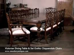 Victorian Dining Table  Set Gothic Chippendale Chairs YouTube - Gothic dining room table