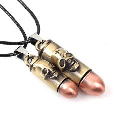 charm leather necklace images Cross and skull engraved bullet shell charm pendant on handmade jpg