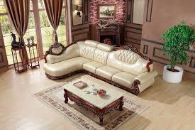 wooden corner sofa set european leather sofa set living room sofa made in china l shape
