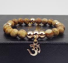 bracelet natural stone images Metal om with beads bracelet elastic rope in charm bracelets from jpg