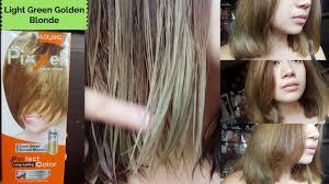 Light Golden Blonde Hair Color How I Dye My Hair Lolane Pixxel In Light Green Golden Blonde