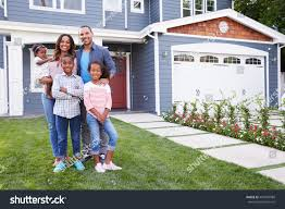 Family Home Happy Black Family Standing Outside Their Stock Photo 401694988