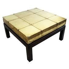 signed sarreid brass coffee table walnut wood base glass top spain