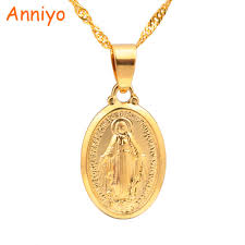 jewelry lady necklace images Anniyo virgin mary pendant necklace for women girls silver gold jpg