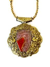 red stone gold necklace images Red stone gold plated tibetan silver boho necklace dripping in jpg