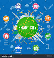 smart city on planet various technological stock vector 455168764