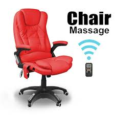 Recliner Office Chair Rio Red Reclining Massage Leather Office Chair W 6 Point Massage