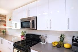 the stylish high gloss white kitchen cabinets in kitchen cabinets