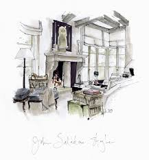 Living Room Architecture Drawing John Saladino Living Room Rendering By Michelle Morelan Www