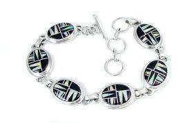 gemstone link bracelet images Southwestern silver onyx lab created opal link bracelet 6 7 5 jpg