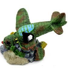 fish decoration battleplane fighter plane wreckage 19 14 14cm in