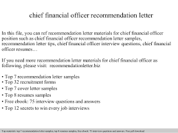 chief financial officer recommendation letter