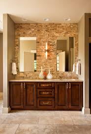 tropical guest bathroom with brown wooden bathroom vanity using