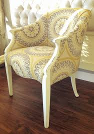 Yellow Chairs Upholstered Design Ideas Newly Upholstered Vintage Chair In Grey By Theweatheredcottage1