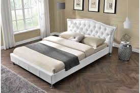 Double King Size Bed Georgio Diamante Crystal Italian Designer Bed Frame White Faux