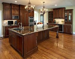 Kitchen Island Track Lighting Cherry Wood Kitchen Cabinets With Black Granite Brown Varnished
