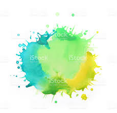 blue paints splattered watercolors yellow green and blue paints on white