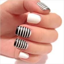 ice cream when the sky is grey nail art stripes black matte