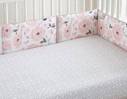 levtex baby elise grey and pink floral 4 piece crib bumper