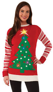 christmas tree sweater with lights amazon com forum novelties light up ugly christmas sweater clothing
