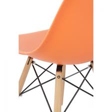 eames style dsw molded orange plastic dining shell chair with wood