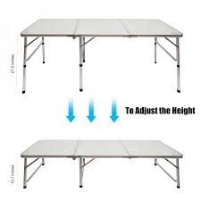 Patio Table Ls Cing Outdoor Picnic Portable Aluminum Alloy 3 Fold Table
