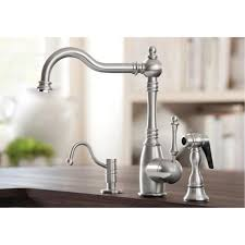 Satin Nickel Kitchen Faucet Blanco 441189 Grace Cafe Brown One Handle With Sidespray Kitchen