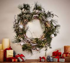 Outdoor Christmas Decorations Warehouse by Outdoor Lit Pine U0026 Driftwood Wreath U0026 Garland Pottery Barn