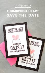 free save the date cards make your own thumbprint heart save the dates