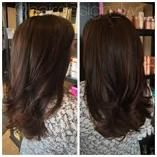 chocolate espresso long layers blowout haircut brunette