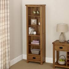 narrow bookcase with drawers rustic oak 1 drawer tall narrow bookcase