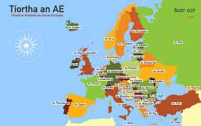 Map Of Eu Map Of Europe In Irish Gaeilge Imgur