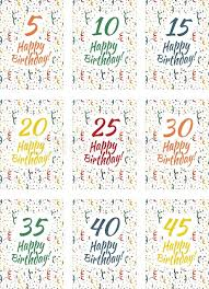 set of happy birthday card covers for anniversary 5 10 15 20 25 30