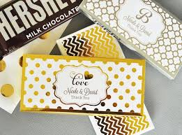 wedding candy favors personalized metallic foil candy and chocolate bar wrapper covers