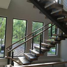 Banister Staircase Apartment Wooden Steps Cable Railing Staircase
