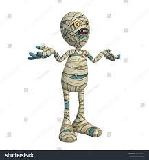 cartoon character illustration scary mummy monster stock