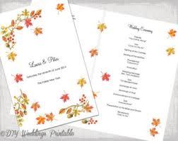 Wedding Ceremony Pamphlets Fall Wedding Program Etsy