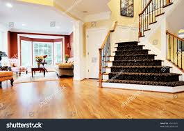 Laminate Wood Flooring On Stairs Open Entryway Wood Floor Staircase View Stock Photo 47077855