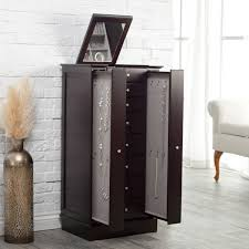 Jewelry Armoire With Lock And Key Exquisite Jewelry Armoire With Quilted Pullout Storage Espresso
