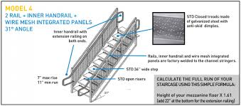 Landing Handrail Height Us Mezzanines U0026 Rack Inc Staircases Mezzanine Staircases Are