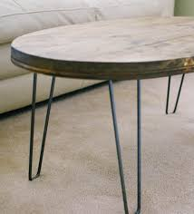 reclaimed wood oval coffee table with hairpin legs home